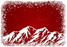 Red Christmas background with mountains Stock Images