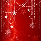 Red Christmas background with ornaments Royalty Free Stock Photography