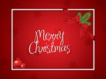 Red Christmas background. With ribbon and baubles Stock Images
