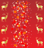 Red christmas background with reindeer Royalty Free Stock Images