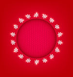 Red Christmas Background with round frame Stock Photo