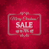 Red christmas background and sale offer Royalty Free Stock Images