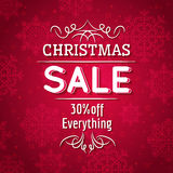 Red christmas background and sale offer Royalty Free Stock Image
