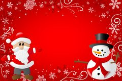 Red christmas background with santa claus and a sn. Vector illustration of a red christmas background with santa claus and a snowman Royalty Free Stock Photos