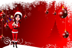 Red christmas background with santa girl and gift Royalty Free Stock Photos