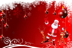 Red christmas background with santa and reindeer Royalty Free Stock Images