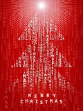 Red Christmas background. A red Christmas background with seasons greetings forming a Christmas tree Stock Photos