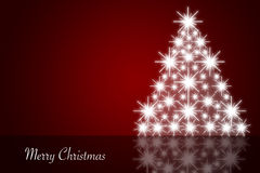 Red christmas background with shiny christmas tree Stock Photo