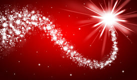 Red christmas background. With shooting star royalty free illustration