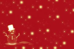 Snow man and red Christmas background royalty free stock photos