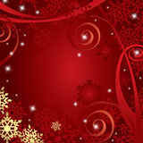 Red Christmas background with snowflakes. Festive dark red Christmas background , snow flake, bauble and grunge elements Stock Photography