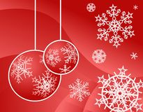 Red christmas background with snowflakes. Red christmas background with christmas tree decoration and snowflakes Stock Photo