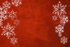 Red Christmas background with snowflakes Royalty Free Stock Image