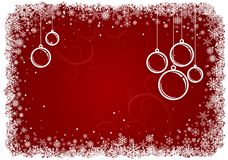 Red Christmas background with snowflakes. Royalty Free Stock Photography