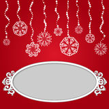 Red Christmas background with snowflakes and empty Stock Photo