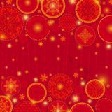 Red christmas background with snowflakes and offer Stock Photos