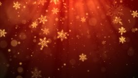 Red Christmas background with snowflakes, shiny lights and particles bokeh in elegant theme.  Stock Image