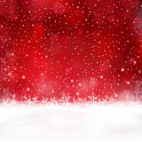 Red Christmas background with snowflakes and stars Stock Photo