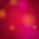 Red christmas background with snowflakes and stars, vector royalty free stock photos