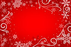 Red christmas background with snowflakes Stock Photo