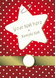 RED CHRISTMAS BACKGROUND WITH STARS AND A GOLDEN BORDER Royalty Free Stock Photo