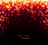 Red christmas background with stars and snowflakes Stock Images