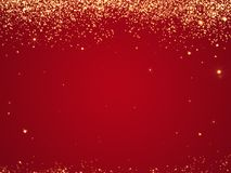 Red Christmas background texture with stars falling from above. Royalty Free Stock Photography