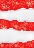 Red christmas background with torn paper Royalty Free Stock Image