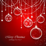 Red Christmas background with transparent balls Royalty Free Stock Photography