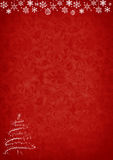 Red Christmas background with tree and decorations Royalty Free Stock Photography