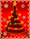 Red Christmas background and tree fur Stock Image