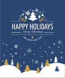 Red Christmas Background With Typography, Lettering. Merry Christmas Background With Typography, Lettering. Blue greeting card Stock Image