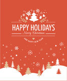 Red Christmas Background With Typography, Lettering. Merry Christmas Background With Typography, Lettering. Red greeting card Stock Photo