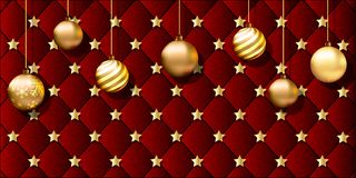 Red Christmas banner with hanging gold ornaments Royalty Free Stock Photos