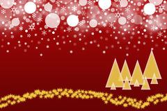 Red christmas background. The white blurred balls and snowflakes on a dark red background. Balls and snowflakes are placed on the top of the picture. The gold Royalty Free Stock Images