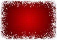 Red Christmas background with white frost Stock Photo