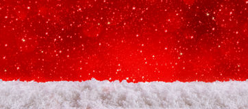 Red christmas background and white snow. Royalty Free Stock Image