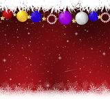 Red christmas background with white snowflakes vector illustration. Rgb mode Royalty Free Stock Images