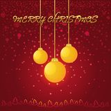 Red Christmas background with a yellow glass ball Stock Photography