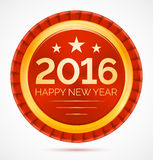 Red christmas badge 2016 happy new year. Vector illustration vector illustration