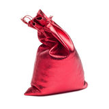 Red christmas bag with present Royalty Free Stock Photography