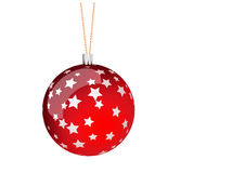 Red christmas ball. With stars Royalty Free Stock Image
