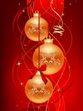 Red christmas ball. Three gold christmas ball on red background royalty free illustration