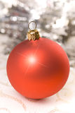 Red Christmas Ball. Decorations on background Stock Photo