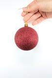 Red christmas ball Stock Photos