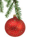 Red christmas ball. On a white background Royalty Free Stock Image