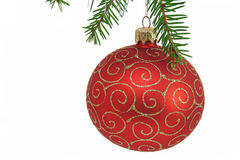 Red christmas ball. On a white background Royalty Free Stock Photography