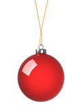 Red christmas ball. On white Royalty Free Stock Image