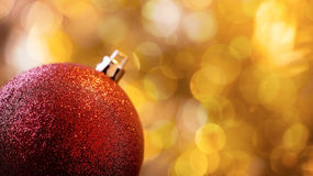 Red Christmas ball banner Royalty Free Stock Photo
