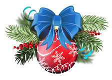 Red Christmas ball with blue bow Stock Photos